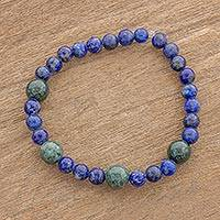 Jade and lapis lazuli beaded stretch bracelet, 'Calming Hues' - Lapis Lazuli and Green Jade Round Beaded Stretch Bracelet