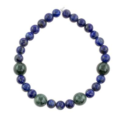 Lapis Lazuli and Green Jade Round Beaded Stretch Bracelet