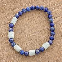 Jade and lapis lazuli beaded stretch bracelet, 'Clouds at Twilight' - Lapis Lazuli and Pale Green Jade Beaded Stretch Bracelet