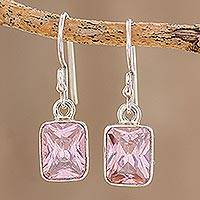 Cubic zirconia dangle earrings, 'Rosy Elegance' - Pink Cubic Zirconia Earrings Crafted in Guatemala