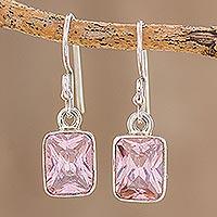 Cubic zirconia dangle earrings, 'Rosy Elegance'