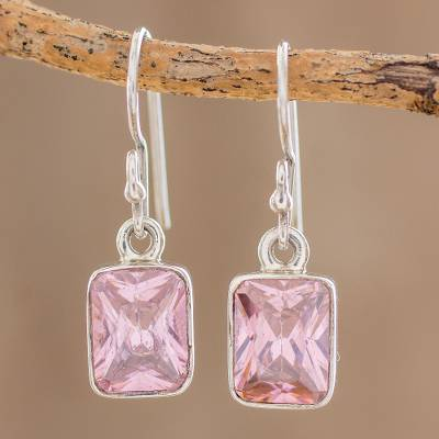 Cubic Zirconia Dangle Earrings Rosy Elegance Pink Crafted In