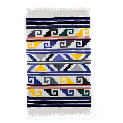 Cotton area rug, 'Bright Steps' (4x6 and 5x7) - Handwoven Cotton Multi-Color Geometric Design Area Rug