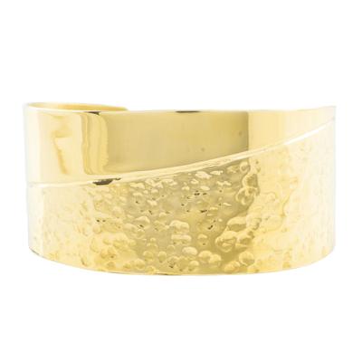 Brass cuff bracelet, 'Royal Combination' - Combination Finish Brass Cuff Bracelet from Guatemala