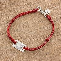 Fine silver pendant bracelet, 'Love Rectangle' - Fine Silver and Red Leather Heart Bracelet from Guatemala
