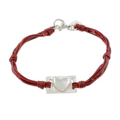 Fine Silver and Red Leather Heart Bracelet from Guatemala