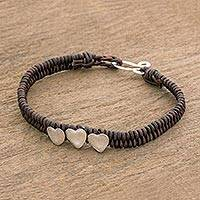 Silver pendant bracelet, 'Amorous Trio' - Fine Silver and Leather Pendant Bracelet from Guatemala