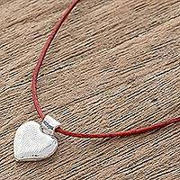 Fine silver pendant necklace, 'Signal of Love' - Fine Silver Heart Pendant Necklace from Guatemala