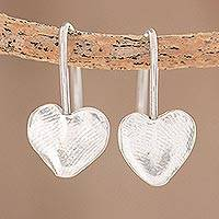 Fine silver drop earrings, 'Fingerprint Hearts' - Heart-Shaped Fine Silver Drop Earrings from Guatemala