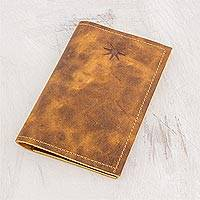 Leather passport wallet, 'Brown Starry Traveler' - Brown Leather Passport Wallet from Guatemala