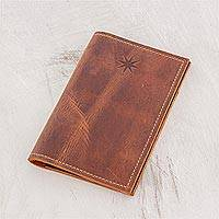 Leather passport wallet, 'Dark Brown Starry Traveler' - Dark Brown Leather Passport Wallet from Guatemala
