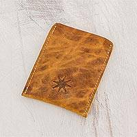 Leather card holder, 'Brown Starry Professional' - Brown Leather Card Holder from Guatemala