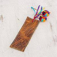 Leather bookmark, 'Brown Starry Imagination' - Brown Leather Bookmark from Guatemala