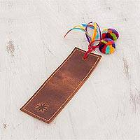 Leather bookmark, 'Dark Brown Starry Imagination' - Dark Brown Leather Bookmark from Guatemala