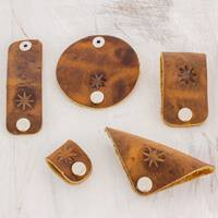 Leather cable organizers, 'Brown Starry Alignment' (set of 5) - Five Leather Cable Organizers in Brown from Guatemala