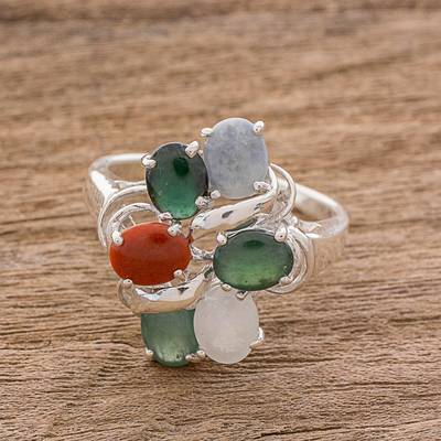 Jade cocktail ring, 'Tide Pools at Sunset' - Multi-Colored Jade Ovals in Sterling Silver Cocktail Ring