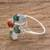 Jade cocktail ring, 'Tide Pools at Sunset' - Multi-Colored Jade Ovals in Sterling Silver Cocktail Ring (image 2b) thumbail