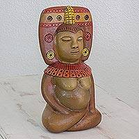 Ceramic sculpture, 'Goddess of Fertility' - Ceramic Sculpture of a Mesoamerican Figure from Nicaragua