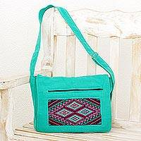 Cotton messenger bag, 'Turquoise Festival' - Handwoven Cotton Messenger Bag in Turquoise from Guatemala