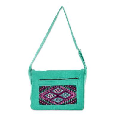 Handwoven Cotton Messenger Bag in Turquoise from Guatemala