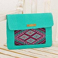 Leather accented cotton laptop bag, 'Turquoise Festival' - Handwoven Cotton Laptop Bag in Turquoise from Guatemala