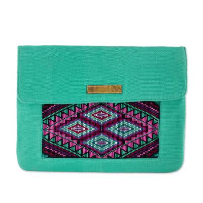Novica Leather accented cotton laptop bag, Turquoise Festival