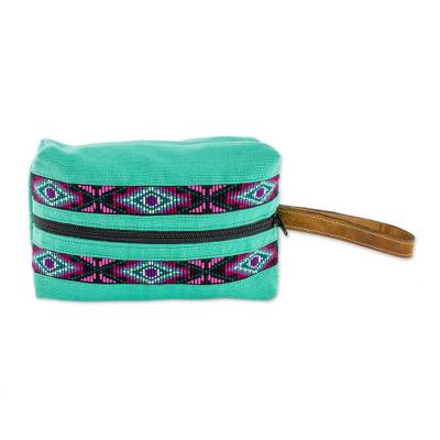 Handwoven Cotton Cosmetic Bag in Turquoise from Guatemala