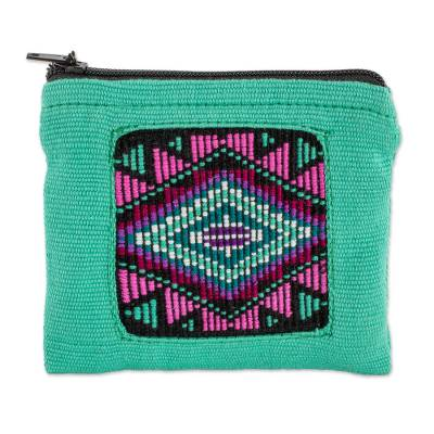 Handwoven Cotton Coin Purse in Turquoise from Guatemala