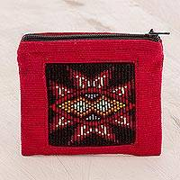 Cotton coin purse, 'Volcano Flame' - Handwoven Cotton Coin Purse in Claret from Guatemala