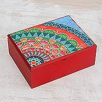 Wood tea box, 'Home Delicacies' - Handcrafted Wood Tea Box in Red from Costa Rica