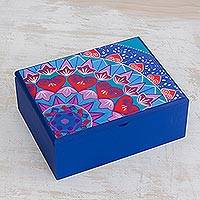 Wood tea box, 'Blue Delight' - Handcrafted Wood Tea Box in Blue from Costa Rica