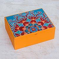 Wood tea box, 'Fruits of the Sun' - Handcrafted Wood Tea Box in Yellow from Costa Rica