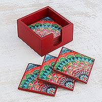 Wood coasters, 'Home Delicacies' (set of 6) - Six Handcrafted Wood Coasters in Red from Costa Rica