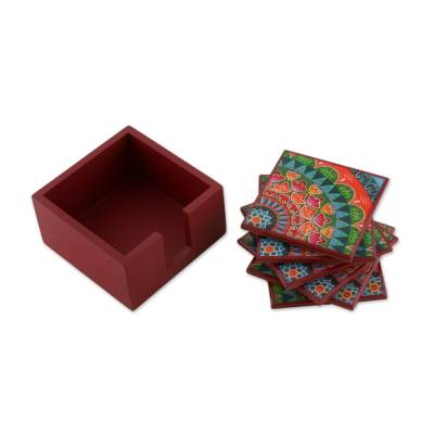 Six Handcrafted Wood Coasters in Red from Costa Rica