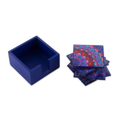 Six Handcrafted Wood Coasters in Blue from Costa Rica