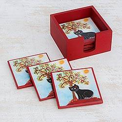Wood coasters, 'Cat and Tree' (set of 6) - Six Handcrafted Wood Cat and Tree Coasters from Costa Rica