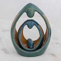 Ceramic sculptures, 'Modern Nativity' (set of 3) - Handcrafted Glazed Turquoise Ceramic Sculptures (Set of 3)