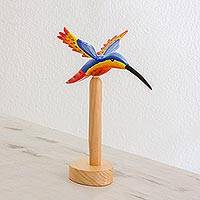 Wood sculpture, 'Sunset Hummingbird' - Hancrafted Wood Hummingbird Sculpture from Guatemala