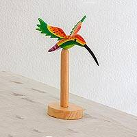 Wood sculpture, 'Glowing Hummingbird' - Multicolored Wood Hummingbird Sculpture from Guatemala