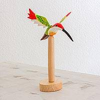 Wood sculpture, 'Enchanted Bosque' - Cypress Wood Hummingbird Sculpture from Guatemala