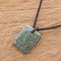 Jade pendant necklace, 'Ancestral Glory' - Green Jade Pendant Necklace with Cotton Cord
