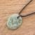 Jade pendant necklace, 'Ancient Memory' - Green Jade Pendant Necklace with Cotton Cord (image 2) thumbail