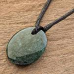 Green Jade Pendant Necklace with Cotton Cord, 'Ancient Strength'