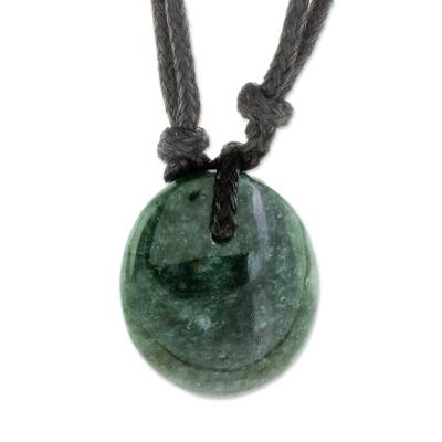 Green Jade Pendant Necklace with Cotton Cord