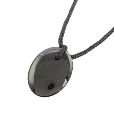 Jade pendant necklace, 'Ancient Allure' - Black Jade Pendant Necklace with Cotton Cord