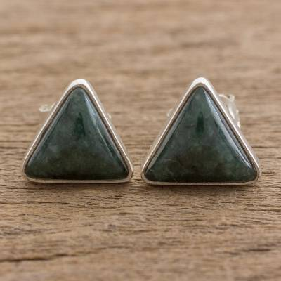 Jade Stud Earrings Dark Green Triangle Of Life Trianglular