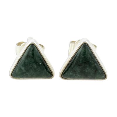 Jade stud earrings, 'Dark Green Triangle of Life' - Trianglular Dark Green Jade Stud Earrings from Guatemala