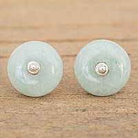 Jade stud earrings, 'Apple Green Mayan Medallions' - Circular Jade Stud Earrings in Apple Green from Guatemala