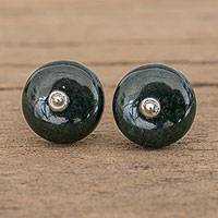 Jade stud earrings, 'Dark Green Mayan Medallions - Circular Jade Stud Earrings in Dark Green from Guatemala