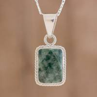 Jade pendant necklace, 'Rope Facets' - Faceted Jade Pendant Necklace from Guatemala
